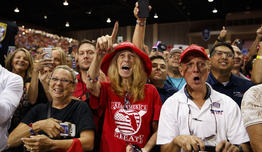 Supporters cheer as President Donald Trump arrives for a campaign rally at Florida State Fairgrounds Expo Hall, Tuesday, July 31, 2018, in Tampa, Fla. (AP Photo/Evan Vucci)