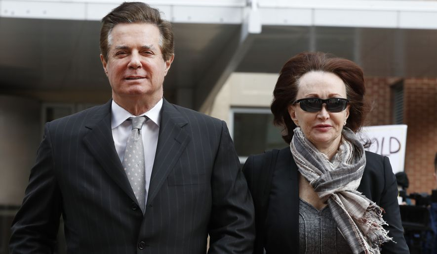 In this March 8, 2018, file photo, Paul Manafort, left, President Donald Trump's former campaign chairman, walks with this wife Kathleen Manafort, as they arrive at the Alexandria Federal Courthouse in Alexandria, Va. Jury selection is set to begin in the trial of President Donald Trumps former campaign chairman. (AP Photo/Jacquelyn Martin, File)