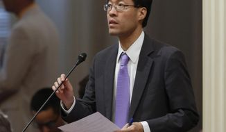 FILE - In this Thursday, May 26, 2016, file photo, state Sen. Richard Pan, D-Elk Grove, speaks to fellow lawmakers in Sacramento, Calif. Two California residents are suing Pan for blocking them from his social media accounts, alleging that barring them from his Twitter account violates their First Amendment free speech rights. (AP Photo/Rich Pedroncelli, File)