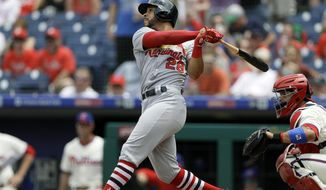 FILE - In this June 20, 2018, file photo, St. Louis Cardinals' Tommy Pham bats against the Philadelphia Phillies during a baseball game in Philadelphia. The Cardinals have traded outfielder Tommy Pham to the Tampa Bay Rays for three minor league players, outfielder Justin Williams, left-handed pitcher Genesis Cabrera and right-handed pitcher Roel Ramirez. The Cardinals also received international cap space in the four-player trade announced Tuesday, July 31, 2018, baseball's deadline for trades without waivers. (AP Photo/Matt Slocum, File)