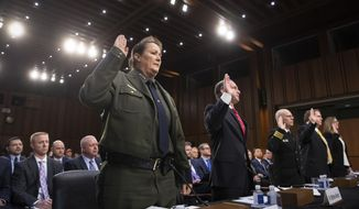 From left, Customs and Border Protection U.S. Border Patrol Acting Chief Carla Provost, U.S. Immigration and Customs Enforcement Executive Associate Director of Enforcement And Removal Operations Matthew Albence, Federal Health Coordinating Official for the 2018 UAC Reunification Effort Cmdr. Dr Jonathan White, Executive Office for Immigration Review Director James McHenry III, and U.S. Citizenship and Immigration Services Associate Director of Refugee, Asylum And International Operations Jennifer Higgins, are sworn in to testify as the Senate Judiciary Committee holds a hearing on the Trump administration's policies on immigration enforcement and family reunification efforts, on Capitol Hill in Washington, Tuesday, July 31, 2018. (AP Photo/J. Scott Applewhite)