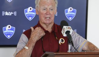 FILE - In this July 30, 2016, file photo, former Washington Redskins general manager Bobby Beathard speaks at a news conference at the Redskins NFL football training camp in Richmond, Va. Beathard loathed first-round draft picks and reveled in taking chances on players from out-of-the-way colleges. It was a formula that paid off with two victories in four trips to the Super Bowl as general manager of the Washington Redskins and San Diego Chargers, and earned him a spot in the Pro Football Hall of Fame. (AP Photo/Steve Helber, File)