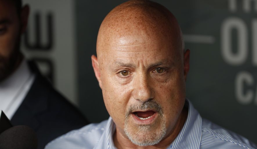 Washington Nationals general manager Mike Rizzo speaks during a media availability before a baseball game against the New York Mets at Nationals Park, Tuesday, July 31, 2018, in Washington. (AP Photo/Alex Brandon) **FILE**