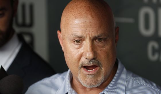 Washington Nationals general manager Mike Rizzo speaks during a media availability before a baseball game against the New York Mets at Nationals Park, Tuesday, July 31, 2018, in Washington. (AP Photo/Alex Brandon) ** FILE **
