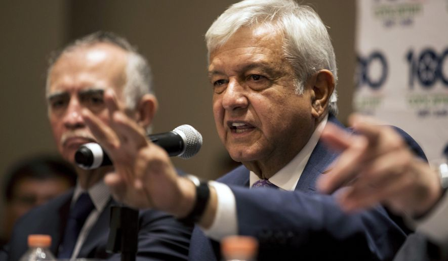 FILE - In this July 9, 2018 file photo, Mexico's President-elect Andres Manuel Lopez Obrador gives a press conference in Mexico City. Lopez Obrador said on Tuesday, July 31, 2018 that he plans to spend heavily in the public health system so Mexicans can enjoy European- quality free health care. (AP Photo/Moises Castillo, File)