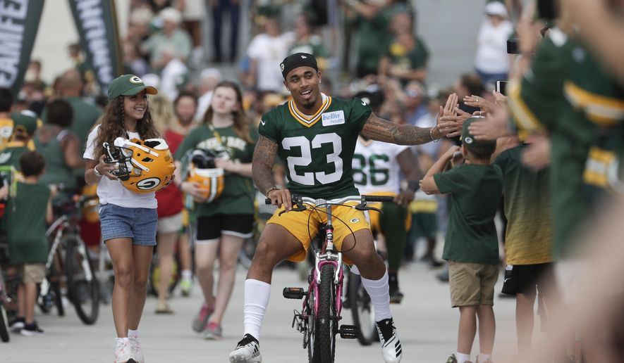 509c93145 Green Bay Packers  39  Jaire Alexander rides a bike to NFL football  training camp