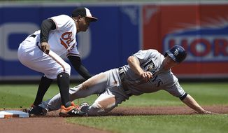 Baltimore Orioles second baseman Jonathan Schoop, left, tags out Tampa Bay Rays' Joey Wendle on a steal-attempt in the first inning of a baseball game, Sunday, July 29, 2018, in Baltimore. (AP Photo/Gail Burton)