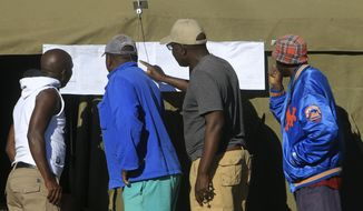 People look at results placed outside a polling station in Harare, Zimbabwe, Tuesday, July 31, 2018.  Zimbabweans on Tuesday awaited the first results from an election that they hope will lift the country out of economic and political stagnation after decades of rule by former leader Robert Mugabe. (AP Photo/Tsvangirayi Mukwazhi)