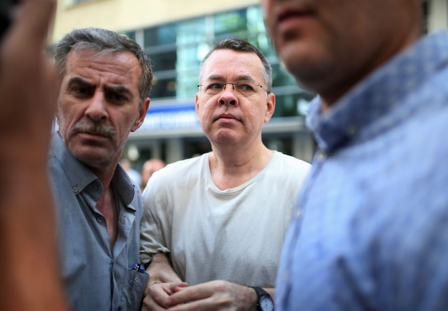 American Christian pastor Andrew Brunson, a North Carolina native who has lived and worked in Turkey for two decades, has been held in a Turkish jail for the past 18 months on charges relating to ties with U.S.-based Turkish cleric Fethullah Gulen and the outlawed Kurdistan Workers' Party, or PKK. He is also accused of playing a role in the failed 2016 military coup to overthrow Turkish President Recep Tayyip Erdogan. (Associated Press/File)
