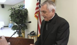"The Most Rev. Ronald Gainer, the Roman Catholic bishop of the diocese of Harrisburg, Pa., discusses child sexual abuse by clergy and a decision by the diocese to remove names of bishops going back to the 1940s after concluding they did not respond adequately to abuse allegations, during a Wednesday, Aug. 1, 2018, news conference in Harrisburg, Pa. The bishop apologized to victims and said the diocese is posting an online list of 71 priests and others in the church accused of the abuse. Following the Erie, Pa., diocese, the Harrisburg diocese is the second Pennsylvania diocese to get ahead of a roughly 900-page grand jury report that could be made public in August 2018, which the Pennsylvania Supreme Court said found more than 300 ""predator priests"" in six of the state's eight dioceses. (AP Photo/Mark Scolforo)"
