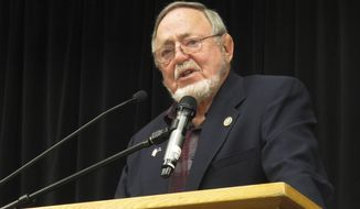 U.S. Rep. Don Young, Alaska's lone U.S. House member, speaks during a forum on Alaska Native issues on Wednesday, Aug. 1, 2018, in Juneau, Alaska. During the event, which was largely a question-and-answer session, Young shared that he has a granddaughter who has struggled with drug addiction. (AP Photo/Becky Bohrer)