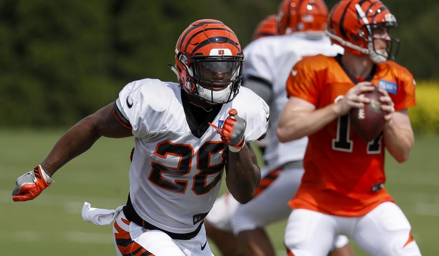 Cincinnati Bengals running back Joe Mixon (28) runs a play during NFL football practice, Wednesday, Aug. 1, 2018, in Cincinnati. (AP Photo/John Minchillo)
