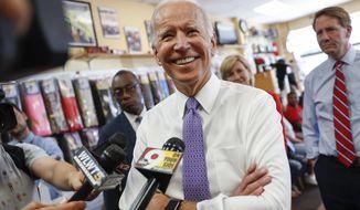 In this June 29, 2018, file photo, former Vice President Joe Biden speaks to the media in Cincinnati. (AP Photo/John Minchillo, File)