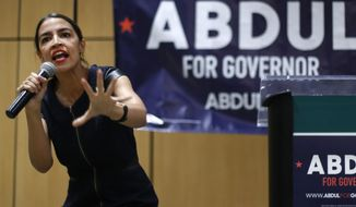 New York Democratic congressional candidate Alexandria Ocasio-Cortez is campaigning for Abdul El-Sayed of Michigan, who hopes to become the nation's first Muslim governor. (Associated Press/File)