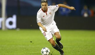 FILE - In this Tuesday, Oct. 18, 2016 file photo, Sevilla's Samir Nasri controls the ball during the Champions League Group H soccer match between Dinamo Zagreb and Sevilla, at the Maksimir stadium in Zagreb, Croatia. Former France midfielder Samir Nasri's doping ban has been increased from six to 18 months following an appeal from UEFA's ethics and disciplinary inspector.  (AP Photo/Darko Bandic, File)