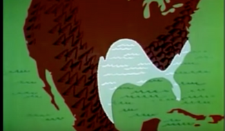 "Screen capture from ""The  Unchained Goddess,"" a 1958 education video produced by Frank Capra which warned that manmade global warming could melt polar ice caps and dramatically flood significant portions of the United States. (YouTube)"