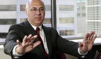 """FILE - In this Aug. 23, 2011, file photo, state Labor Commissioner Brad Avakian speaks during an interview, in Portland, Ore. Avakian has accused political leaders in the Legislature and officials in the state Capitol of permitting """"a generally hostile environment based upon sex."""" (AP Photo/Rick Bowmer, File)"""