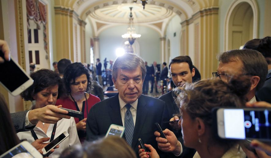 """It's supposed to be done before the 30th of September. It's supposed to be done in smaller packages where members have a chance to debate the amendments on the floor, and we're doing that,"" Sen. Roy Blunt, Missouri Republican, said. (Associated Press photograph)"
