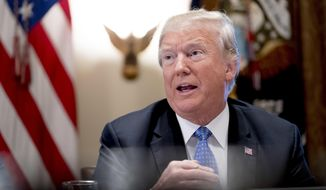President Donald Trump speaks during a meeting with inner city pastors in the Cabinet Room of the White House in Washington, Wednesday, Aug. 1, 2018. (AP Photo/Andrew Harnik)