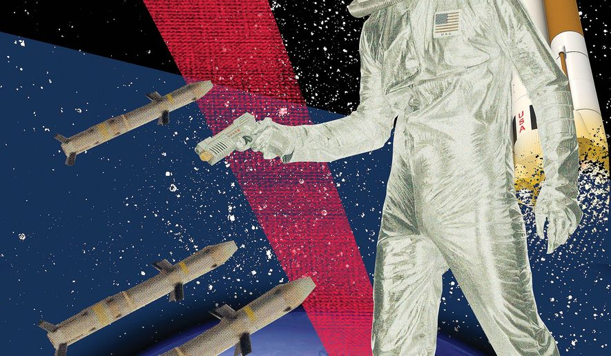 Illustration on a proposed space force by Linas Garsys/The Washington Times