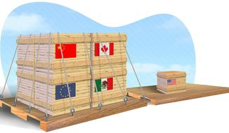 Illustration on international trade by Greg Groesch/The Washington Times