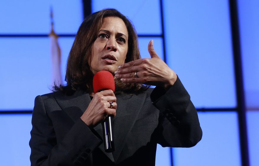In this April 5, 2018, file photo, Sen. Kamala Harris, D-Calif., speaks at a a town hall meeting in Sacramento, Calif. (AP Photo/Rich Pedroncelli, File)