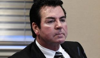 In this Wednesday, Oct. 18, 2017, file photo, Papa John's founder and CEO John Schnatter attends a meeting in Louisville, Ky. Schnatter says the pizza chain needs him back as its public face, and that it was a mistake for the company to scrub him from its marketing materials after he acknowledged using a racial slur last month. (AP Photo/Timothy D. Easley, File)