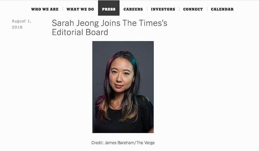 New York Times editorial board member Sarah Jeong is under fire shortly after her hiring for a sustained flow of anti-white racist tweets. (Image: New York Times screenshot)