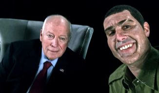 "This image released by Showtime shows former Vice President Dick Cheney, left, and actor Sacha Baron Cohen, portraying retired Israeli Colonel Erran Morad in a still from ""Who Is America?""  (Showtime via AP)"