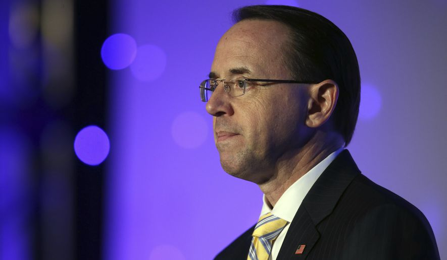 United States Deputy Attorney General Rod J. Rosenstein speaks at the American Bar Association conference at the Hyatt Regency Chicago on Thursday, Aug. 2, 2018. (Terrence Antonio James/Chicago Tribune via AP)