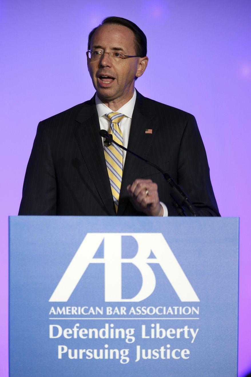 United States Deputy Attorney General Rod J. Rosenstein speaks at the American Bar Association conference at the Hyatt Regency Chicago on Thursday, Aug. 2, 2018. (Terrence Antonio James/Chicago Tribune)/Chicago Tribune via AP)