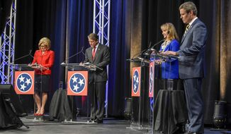 FILE - In this June 20, 2018, file photo, Republican GOP gubernatorial candidates, from left, Diane Black, Randy Boyd, Beth Harwell and Bill Lee take part in a debate in Hendersonville, Tenn. The contest to succeed popular term-limited Republican Gov. Bill Haslam has attracted four leading Republicans who have put some $40.2 million of their own money into the race and have spent a record $45.7 million total. (Lacy Atkins/The Tennessean via AP, File)