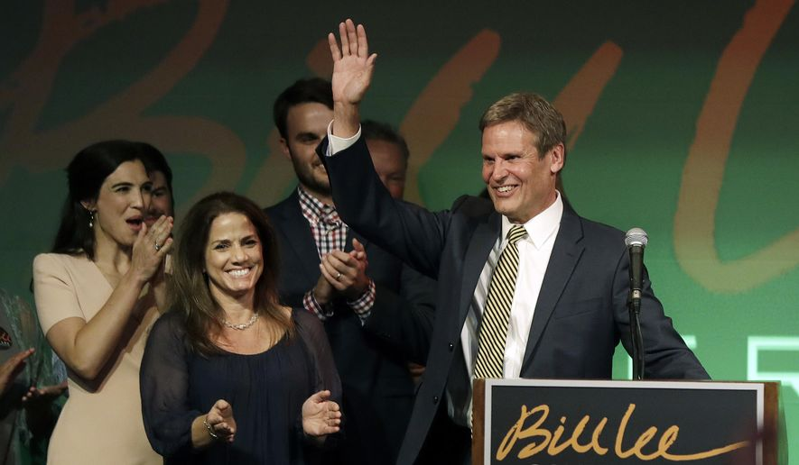 Bill Lee thanks supporters at a victory party after he won the Republican nomination for Tennessee governor Thursday, Aug. 2, 2018, in Franklin, Tenn. Lee's wife, Maria, is at front left. (AP Photo/Mark Humphrey)