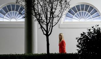 Ivanka Trump, the daughter of President Donald Trump, walks towards the West Wing at the White House in Washington, Tuesday, July 31, 2018, after traveling with the president to a rally in Tampa, Fla. (AP Photo/Andrew Harnik)