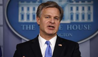 FBI Director Christopher Wray speaks during the daily press briefing at the White House, Thursday, Aug. 2, 2018, in Washington. (AP Photo/Evan Vucci) ** FILE **