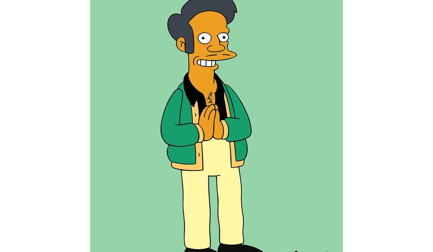 "This image released by Fox shows the character Apu, an Indian shop owner featured on ""The Simpsons,"" animated series. Fox says it trusts the creators of the series to handle the show's depiction of Apu, which has drawn fire as a racist stereotype. (Fox via AP)"