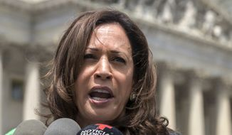 This May 23, 2018 file photo shows Sen. Kamala Harris, D-Calif., speaking in Washington. (AP Photo/J. Scott Applewhite)