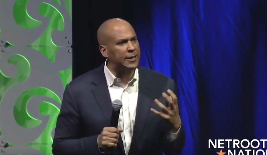 Sen. Cory Booker (D., N.J.), speaks to a Netroots Nation audience in New Orleans on Aug. 3, 2018. (Image: Facebook, Netroots Nation live-stream)