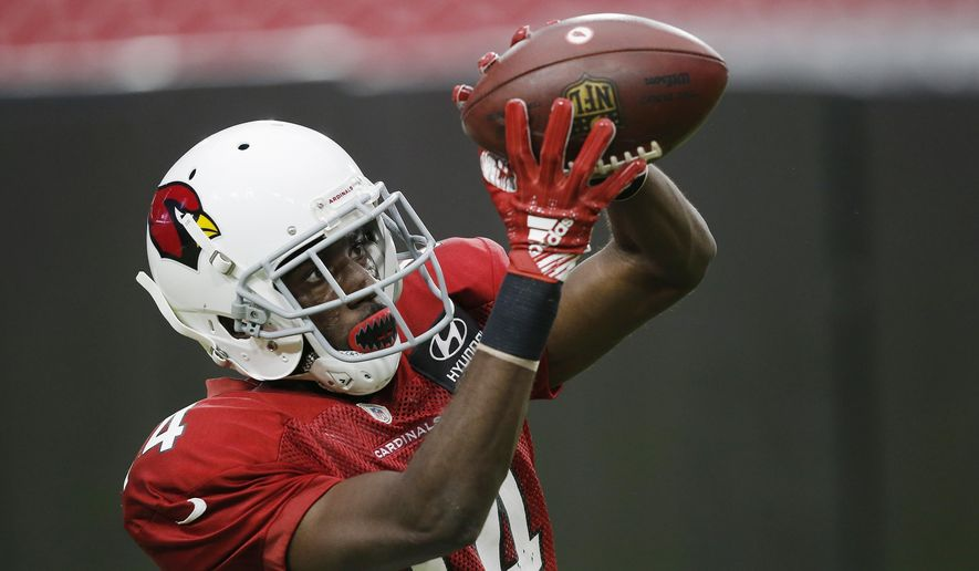 Arizona Cardinals wide receiver J.J. Nelson makes a catch during an NFL football training camp Thursday, Aug. 2, 2018, in Glendale, Ariz. (AP Photo/Ross D. Franklin)