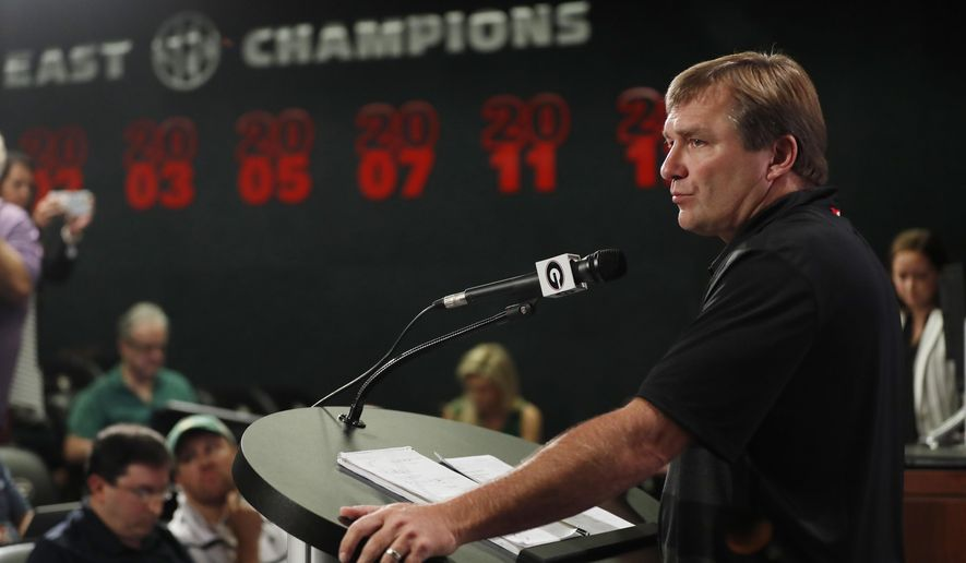 Georgia head coach Kirby Smart speaks to the media before their NCAA college football training camp practice Friday, Aug. 3, 2018 in Athens, Ga. (AP Photo/John Bazemore)