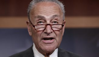 In this July 16, 2018, file photo, Senate Minority Leader Chuck Schumer, D-N.Y., speaks to reporters on Capitol Hill in Washington. (AP Photo/J. Scott Applewhite, File)