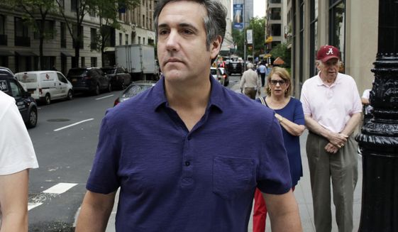 In this July 30, 2018 file photo, Michael Cohen, formerly a lawyer for President Trump, leaves his hotel in New York. In April, Trump seemed poised for a fight over files seized by the FBI from his lawyer Cohen. So far, though, a court-ordered review of the seized material has been less a battle than a congenial slog. (AP Photo/Richard Drew, File)