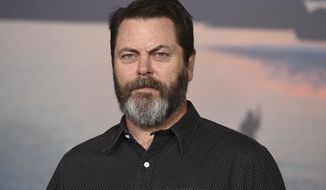 "FILE - In this March 8, 2017 file photo, Nick Offerman arrives at the Los Angeles premiere of ""Kong: Skull Island"" at the Dolby Theatre. FX is picking up a drama about a cutting-edge tech company starring Offerman, sinking resources into a series based in feudal Japan and getting Chris Rock to star in a fourth series of ""Fargo."" The network revealed some of its upcoming plans Friday, Aug. 3, 2018. (Photo by Jordan Strauss/Invision/AP, File)"