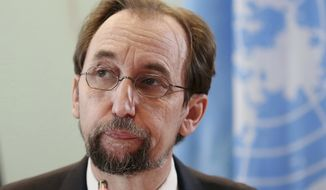 "FILE - In this Feb. 7, 2018, file photo, U.N. human rights chief Zeid Ra'ad al-Hussein pauses during a press conference in Jakarta, Indonesia. Zeid defended his outspoken criticism of rights abuses in dozens of countries from Myanmar and Hungary to the United States on Thursday, Aug. 2, 2018, insisting that his office doesn't ""bring shame on governments, they shame themselves."" Zeid stressed at a farewell press conference at U.N. headquarters that ""silence does not earn you any respect - none."" (AP Photo/Dita Alangkara, File)"