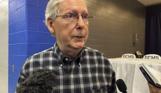 Senate Majority Leader Mitch McConnell speaks with reporters at the Graves County Republican breakfast on Saturday, Aug. 4, 2018, in Mayfield, Ky.  McConnell formally announced his re-election campaign for 2020. (AP Photo/Adam Beam)