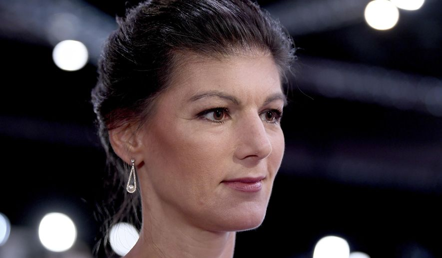 ---Sahra Wagenknecht, parliamentary faction leader of the Left Party photographed on June 9, 2018. (Britta Pedersen/dpa/AP Images