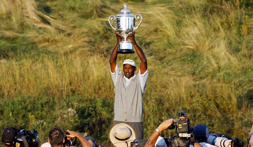 FILE - In this April 15, 2004, file photo, Vijay Singh holds up the Wanamaker Trophy after winning the 86th PGA Championship at Whistling Straits in Haven, Wis. Singh is the only player in his 40s to have won the PGA Championship since 1984.  (AP Photo/Jeff Roberson, File)