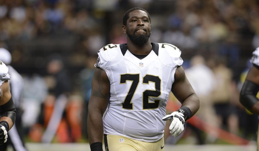 In this Aug. 22, 2015 photo, New Orleans Saints tackle Terron Armstead (72) walks on the field in the first half of a preseason NFL football game against the New England Patriots in New Orleans. Armstead says he's as confident in his physical form as he has been in years. Armstead says he has responded to recent injury-plagued seasons by traveling around the country and even overseas to see specialists for procedures or consults. (AP Photo/Bill Feig)