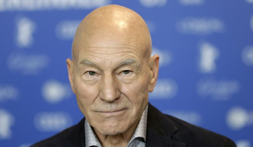 """In this Friday, Feb. 17, 2017 file photo, Actor Patrick Stewart attends a press conference for the film 'Logan' at the 2017 Berlinale Film Festival in Berlin, Germany. Patrick Stewart is boldly going where he's been before _ """"Star Trek."""" CBS All Access said Saturday, Aug. 4, 2018, Stewart has been tapped to headline a new """"Star Trek"""" series, reprising his """"Star Trek: New Generation"""" character, Captain Jean-Luc Picard. (AP Photo/Michael Sohn, File)"""