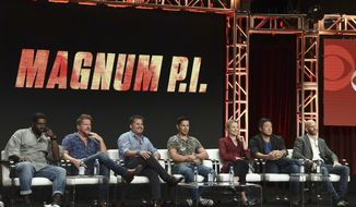 """Stephen Hill, from left, Zachary Knighton, Peter M Lenkov, Jay Hernandez, Perdita Weeks, Tim Kang and Eric Guggenheim participate in the """"Magnum P.I"""" panel during the Television Critics Association Summer Press Tour at the the Beverly Hilton Hotel on Sunday, Aug. 5, 2018, in Beverly Hills, Calif. (Photo by Richard Shotwell/Invision/AP)"""